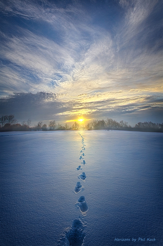 """"""" It Was Then That I Carried You """" - Wisconsin Horizons by Phil Koch. Turning natural landscapes into portraits of nature. #freetoedit #remixit #nature #peace #footprintsonthesand #footprints #winter #snow #landscapephotography #beauty #pretty #landscape #beautiful #follow #fanart"""