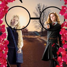 harrypotter poterhead luna lunalovegood hermione hermionegranger duo glasses girls girlspower freetoedit