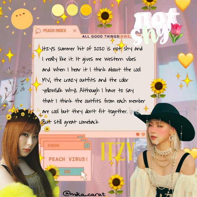 ☀️🍋hey there, hey there, 오리는 great pair, pair🍋☀️  -mika Thanks to my first follower: @_bumble_tea  #notshy #notme #itzy #itzay #itzynotshy #itzycomeback #summer #yellow #peach #chaeryeong #itzychaeryoung #ryujin #itzyryujin      Have a great day🌟