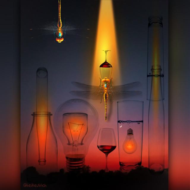 Heart of glass💔#surrealisticworld #glass#redaesthetic #warmcolors #libelle #insects #glühbirne #spotlight #imagination #fantasyart #makeawesome #editbyme #madewithpicsart