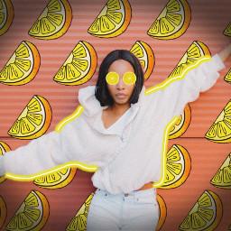 lemon lemons lemonslice lemonbackground yellow pink coral neon neonlines neonoutline outline girl woman summer lemonade pretty beautiful freetoedit