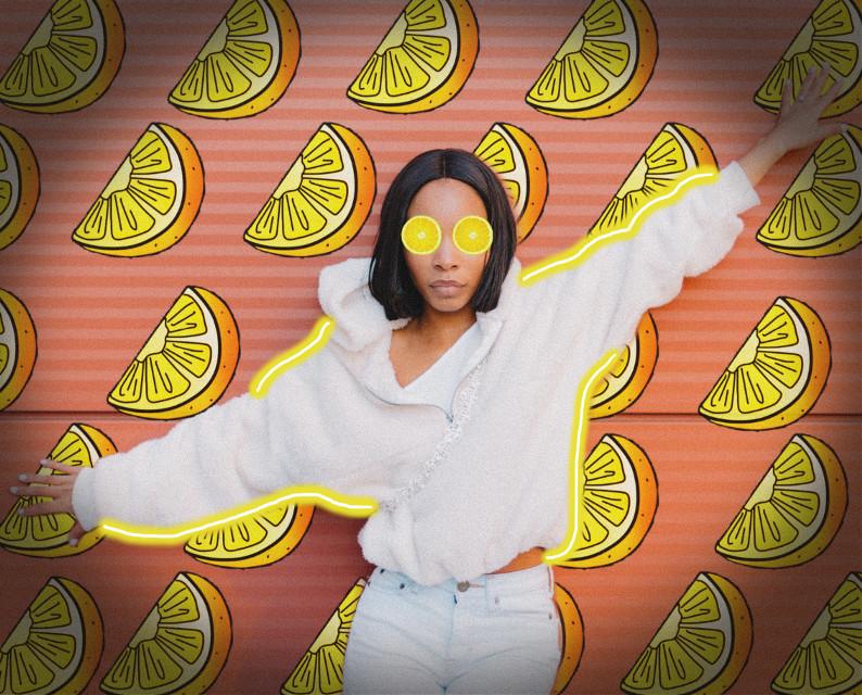 #lemon #lemons #lemonslice #lemonbackground #yellow #pink #coral #neon #neonlines #neonoutline #outline #girl #woman #summer #lemonade #pretty #beautiful