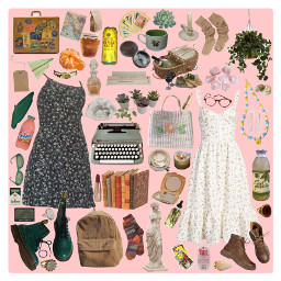 moodboard aesthetic cottagecore clothes pink green vibe pinterest granola freetoedit