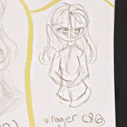 oc backstory art girl traditionalart drawing sketch outline old villager