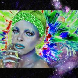 freetoedit artographybypamela greenflower limegreenaesthetic universe🌌♥ beautifulgirl greensparkles milkyway shorthair facepaint sunflowers🌻💛🌻 moderndesign contemporarypicture pamelaann universe sunflowers