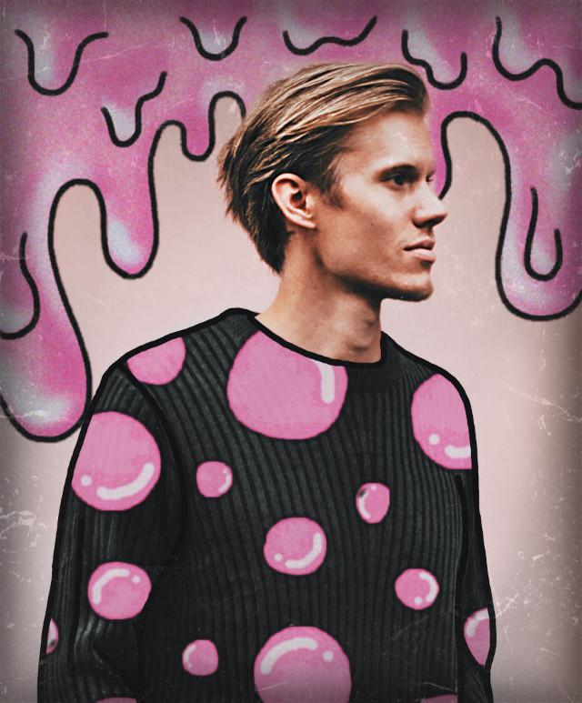 #bubblegum #gum #bubble #bubbles #pink #pinkbubbles #pinkgum #sweater #man #boy #blonde #blondehair #blondeboy #slime #drip #dripping #cute #handsome #wall
