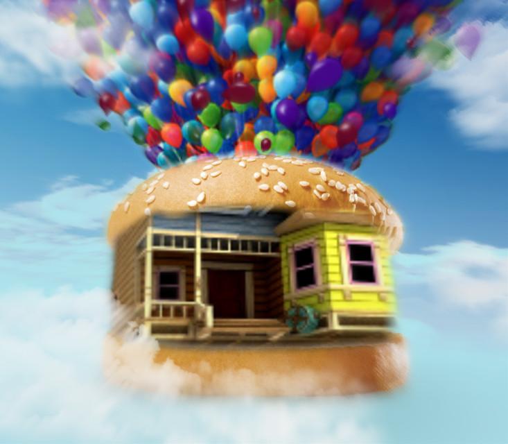 #burger #hamburger #cheeseburger #burgerchallenge #balloons #balloon #house #up #float #floating #sky #floatinghouse #clouds #cloud #cloudy #cloudysky #bluesky #surreal #surrealism #fly #flying #freetoedit #ircfilltheburger #filltheburger