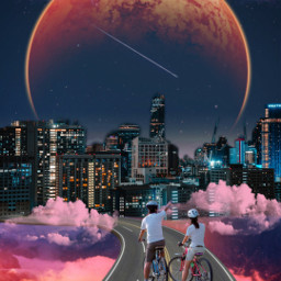 remix edit moon clouds pinkclouds city buildings view ridebike twopeople beautifulview freetoedit