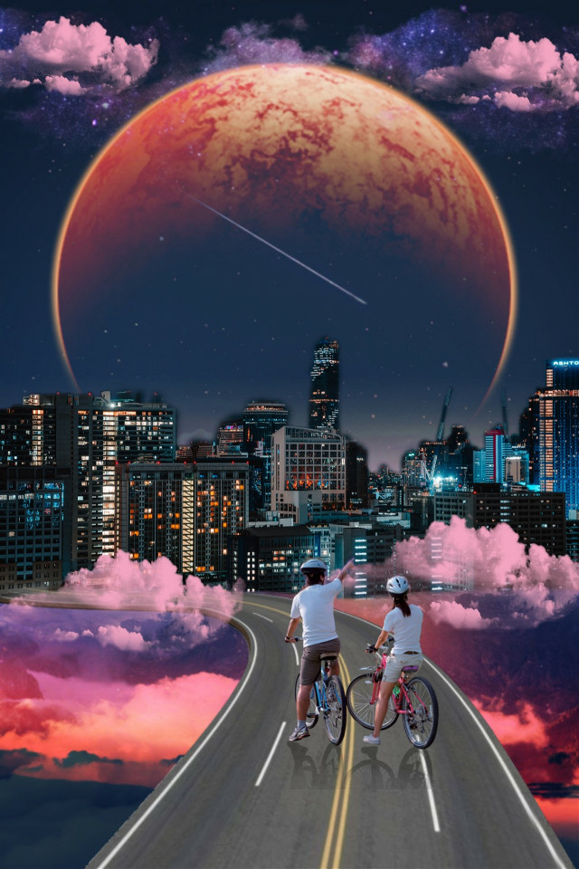 #remix #edit #moon #clouds #pinkclouds #city #buildings #view #ridebike #twopeople #beautifulview