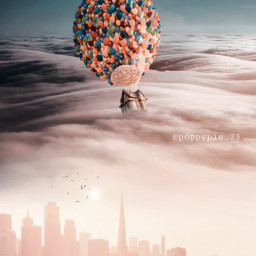 picsart myedit myremix surreal freetoedit sky photomanipulation photoart fxeffects hotairballoon house air blending background flyinghouse