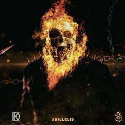 ghost rider ghostrider marvel hero antihero skull fanart fire freetoedit