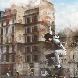 skating street streetart mural muralart srccherubangels cherubangels
