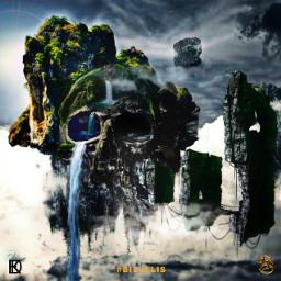 skull skullart floatingisland sky skyisland fantasy fiction island freetoedit