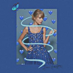 taylorswift taylor taylorswiftedit blue blau swiftie swifties heart butterfly celebrity singer dress remixit freetoedit replay taylorswiftinblue
