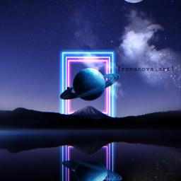 saturn night neon galaxy myedit freetoedit stars mirror