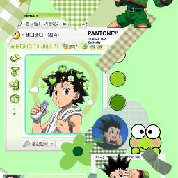 collage gonfreecs gon hxh hunterxhunter hunterhunter anime japan green frogs freetoedit