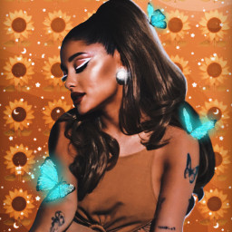 art myedit arianagrande yellow sunflower freetoedit