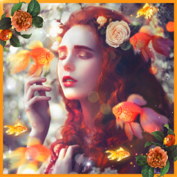 girl woman fishes golden underthesea inwater water goldenfishes orange flowers ariel freetoedit