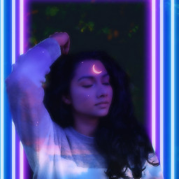 myedit replay moon girl purple freetoedit neon clouds