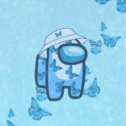 amongus among_us wallpaper wallpapers background backgrounds amongus_wallpaper among us blue bluebutterflies blueaesthetic glitter butterfly butterflies butterflyeffect cyanamongus astethic blueaestheticbackground astethicwallpaper freetoedit