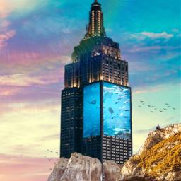 freetoedit picsart picsarttool myedit editedbyme surreal surrealedit mountain city building aquarium fishes man woman mountaineering scubadivers airplane birds heypicsart