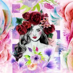 picsart multicolor flowers interesting girl beautifuledit amazing remixit remixed freetoedit