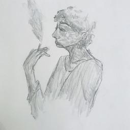 art sketch sadwomen women cigarette drawing traditionaldrawing