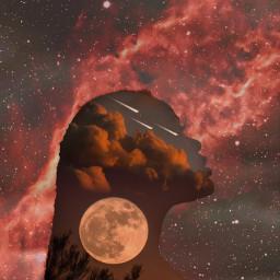 starlightstarbright woman moon clouds exposure picsart art remixme freetoedit