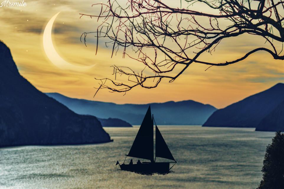 #landscape #scenery #naturesbeauty #lakeside #moonlight #boat #silhouette #ftestickers #dodgereffect #mixedmedia #minimaledit #keepitsimple #makeawesome #heypicsart #picsartmaster #masteredit #myedit #madewithpicsart