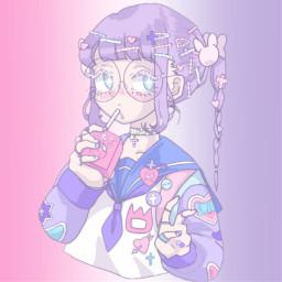 anime girlanime girl glare pinkandpurple freetoedit