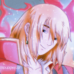 howl howlpendragon howljenkins howljenkinspendragon howlsmovingcastle hmc fanart anime studio studioghibli sparkles bling colorful redraw pink yellow red blue teal aqua aesthetic