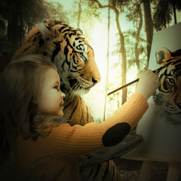 365world tiger painting girl jungle darkness imagination wild forest animal dontremixoredit