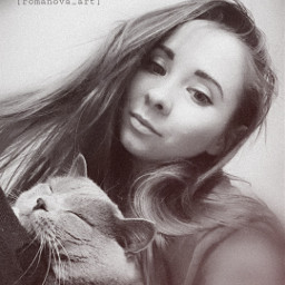 myedit freetoedit girl me cat selfie noise blackandwhite