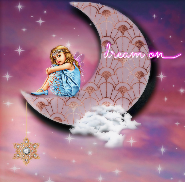 #artdecoremixchallenge #dreamon #moonandstars #pinkaesthetic #cloud #littlegirldreams #goldstar #diamondjewelry #crescentmoon 🌙☁️💖✨