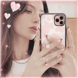 cute pink cow heart aecthetic remixit freetoedit sweet baby girl model pinkaesthetic white whiteaesthetic iphone emoji iphoneemoji sparkle glitter neon