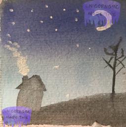 winterlandscape watercolor moon stars night weirdtree freetoedit