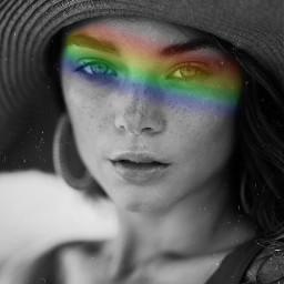 colors rainbow girl woman hat eyes stripe beach cute edit vintage aethetic freetoedit