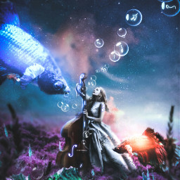 freetoedit underwater surrealism fantasyworld gril musical fish bigfish manipulation madebyme madewithpicsart freetoeditremix