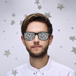sparkle man person glasses star stars suit beard shine glitter edit freetoedit