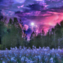 field lilac moon colurchange sunset redsky mountain