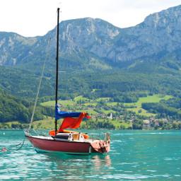 attersee upperaustria austria lake boat mountain alpine landscape summer
