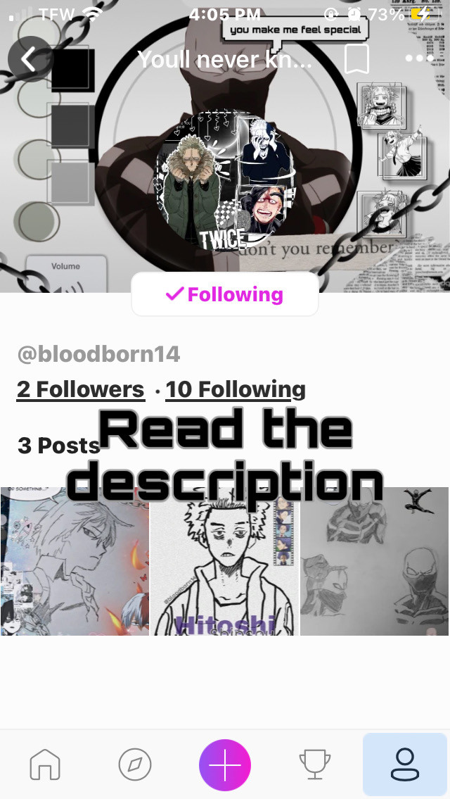 Heeeeyyyy  So my super swag little brother got picsart   I made him follow a bunch of my besties cause why not- He does super swag art and is apart of almost every fandom  You should totally follow him😏😏  @bloodborn14  (also hes in love with twice so yeah) ((And Foxy)) (((And Erens Titan)))   K cool  Im gonna post a swag new cosplay after this post 👁👁  Yall aint ready-    Aight    Wuv u titus🤭   #shoutout #followthem #twice