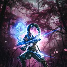 unsplash google freetoedit samurai sword dragon glowing fantasyart forest manipulation madebyme madewithpicsart freetoeditremix