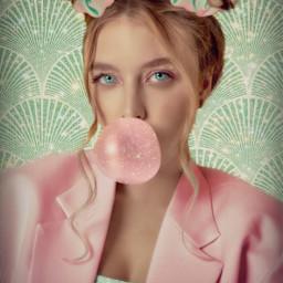 background teal pink jacket bun buns hair cute gum bubblegum bubble pinkbubble spakle sparkles sparkley scrunchie scrunchies blonde blondehair blondegirl girl girls lady woman glitter freetoedit