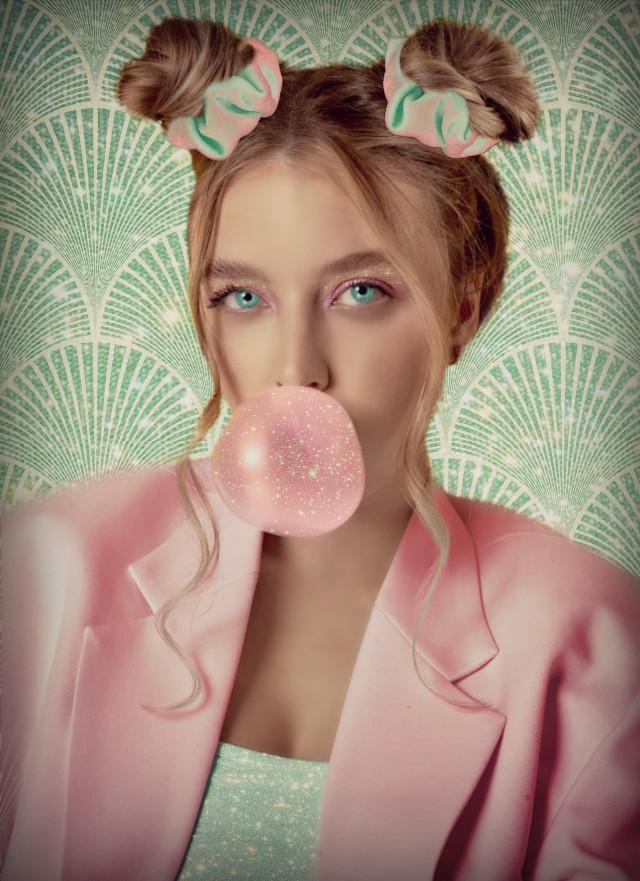 #background #teal #pink #jacket #bun #buns #hair #cute #gum #bubblegum #bubble #pinkbubble #spakle #sparkles #sparkley #scrunchie #scrunchies #blonde #blondehair #blondegirl #girl #girls #lady #woman #glitter