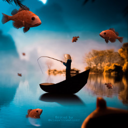 followmeplease fishing lake pond mountain phirana red blue purple tree bush dark reflection followme freetoedit
