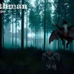 freetoedit mothman bigfoot ufo sciencefiction et blue wood trees night