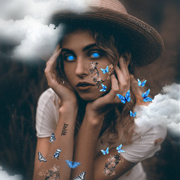 myedit freetoedit girl clouds butterflys