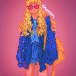girl lady blonde yellow glitter blue darkblue beautiful beautifulgirl art drawing originalart originaldrawing outfits aesthetic sparkles stars gold navy pink pinkskin bluejacket blondehair pinkglasses yellowbag