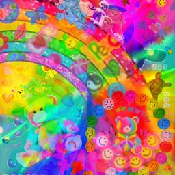 saturatededit kidcore rainbow rainbows freetoedit